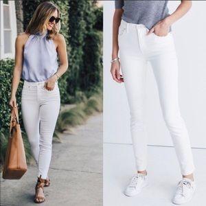 "Madewell 9"" High-Rise White Skinny Jeans 25"
